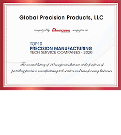 """Global Precision Products, LLC Recognized by Manufacturing Technology Insights Magazine as """"Top 10 Precision Manufacturing Tech Service Companies – 2020"""""""